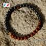 Bracelet homme en pierres obsidienne acajou naturelles et hématites synthétiques de 6 mm.