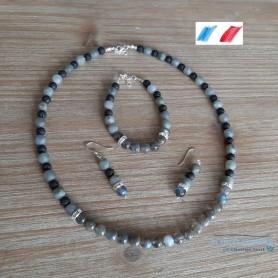 parure création artisanale en labradorite et argent collier bracelet boucles d'oreilles