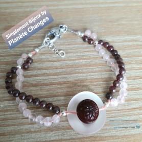 bracelet original unique bouton fils de soie perles fines grenat quartz rose